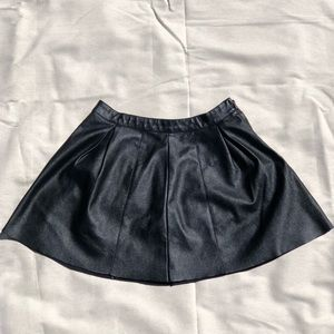 Faux Leather Black Mini Skirt w/ Suede like Lining